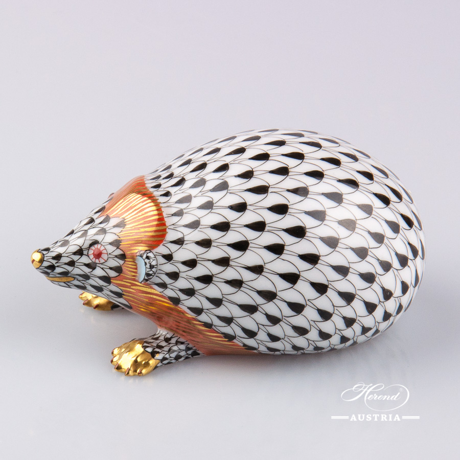 Hedgehog 15501-0-00 VHN Black - Herend Animal Figurine