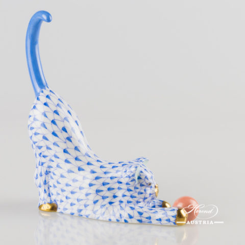 "Cat with Ball 15309-0-00 VHB Blue Fish Scale decor. Herend Fine china animal figurine. Hand painted. Height: 13.0 cm (5""H)"
