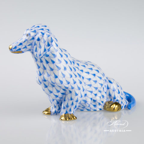 "Dog - Dachshund 15576-0-00 VHB Blue Fish Scale decor. Herend porcelain animal figurine. Hand painted. Length: 13.2 cm (5.25""L)"