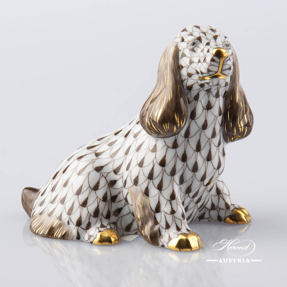"Dog - Spaniel 15455-0-00 VHBR1 Brown Fish Scale decor. Herend Fine china animal figurine. Hand painted. Length: 9.5 cm (3.75""L)"