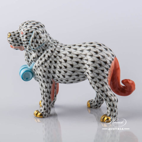 "St-Bernard Dog 15871-0-00 VHN Black Fish Scale decor. Herend Fine china hand painted. St-Bernard dog animal figurine. Length: 13.0 cm (5""L)"