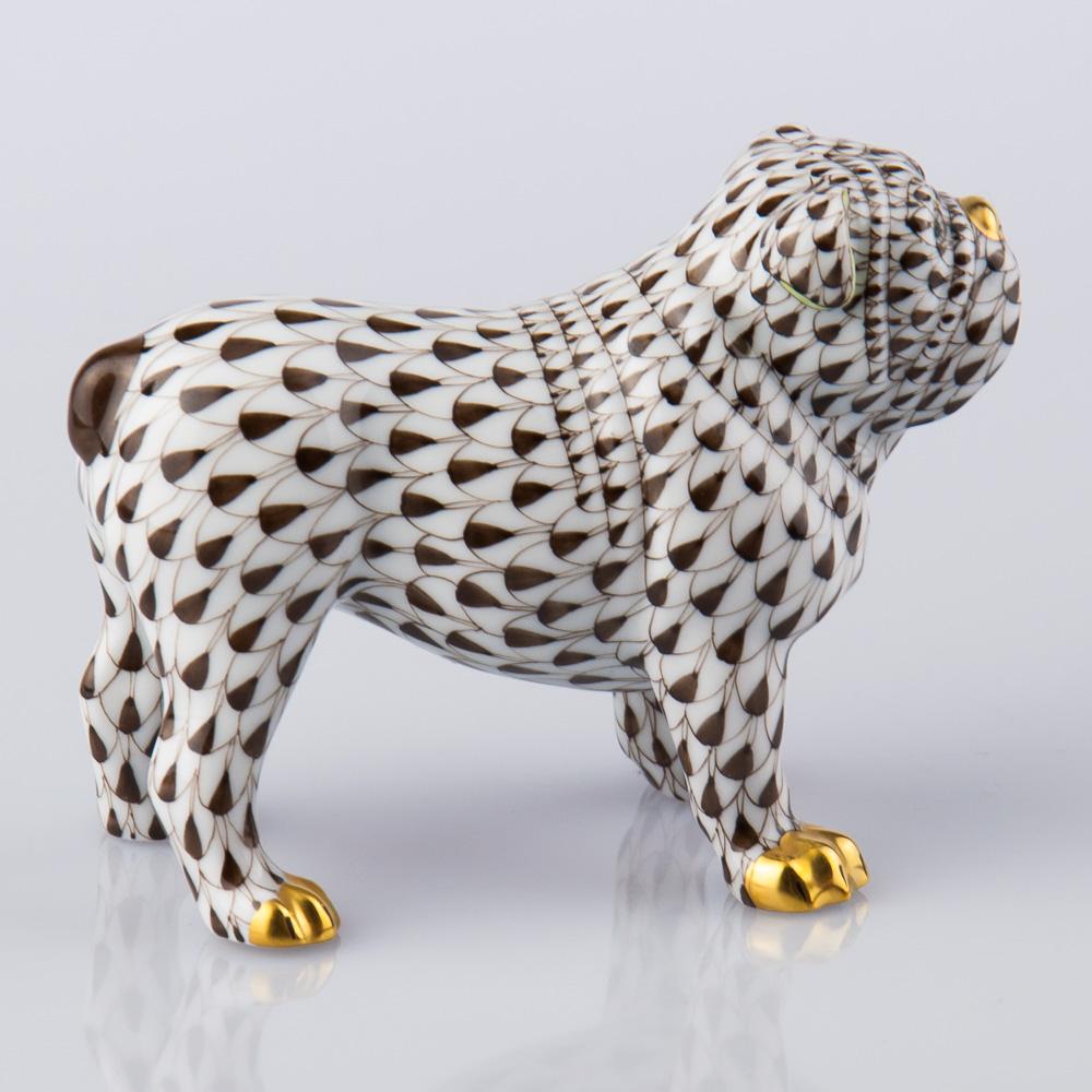 "Bulldog 15839-0-00 VHBR1 Brown Fish Scale decor. Herend Fine china animal figurine. Hand painted. Length: 10.0 cm (4""L)"