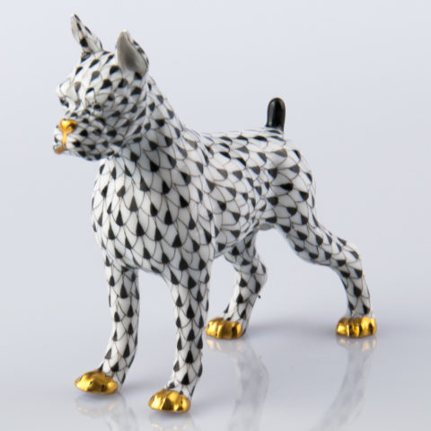 """Boxer Dog 15565-0-00 VHNM Black Fish Scale decor. Herend Fine china animal figurine. Hand painted. Length: 11.8 cm (4.75""""L)"""