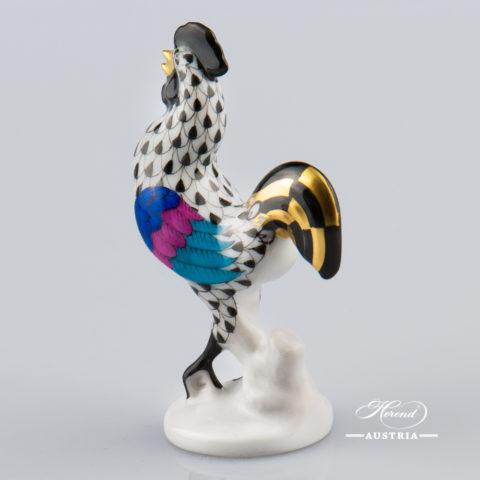 Rooster 5042-0-00 VHNM Black - Herend Animal Figurine