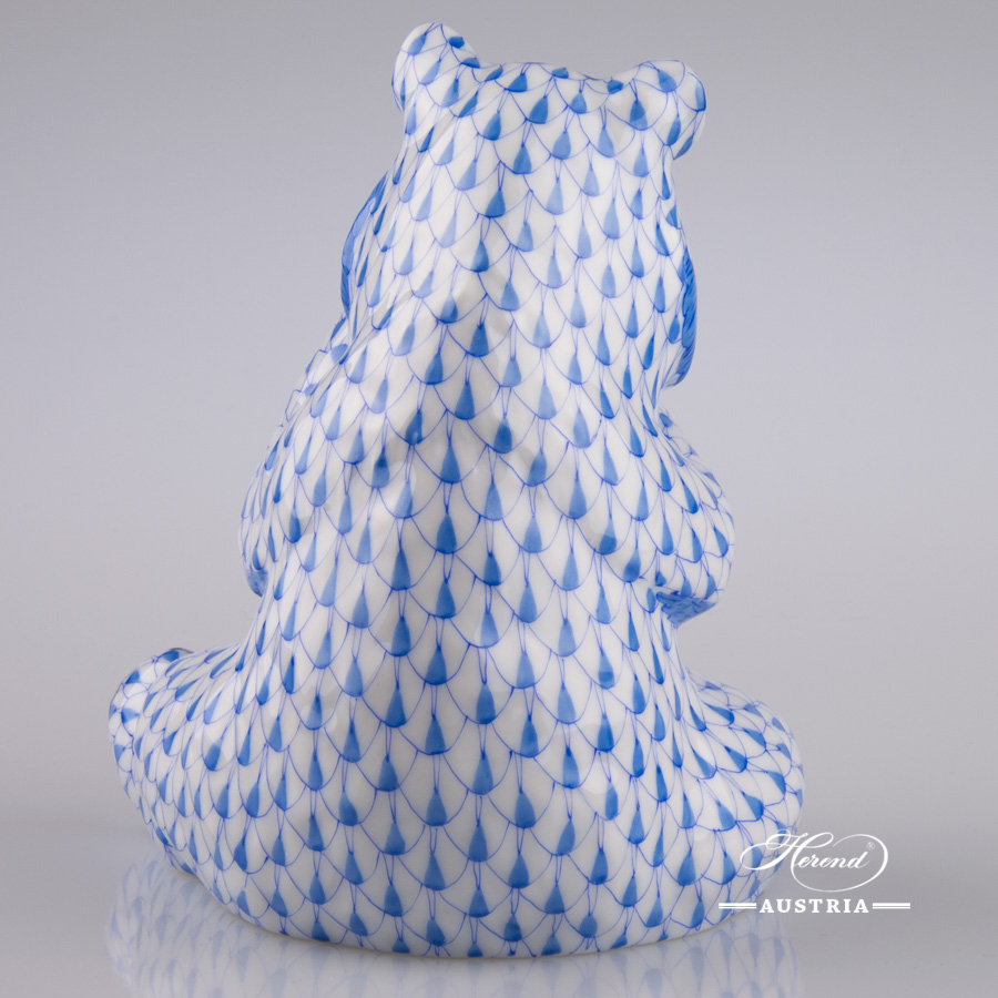 "Panda Bear 15348-0-00 VHB Blue Fish scale decor. Herend Fine china animal figurine. Hand painted. Height 12.6 cm (5""H)"