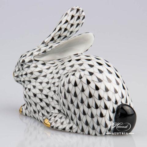 Rabbit 15335-0-00 VHNM Black - Herend Animal Figurine