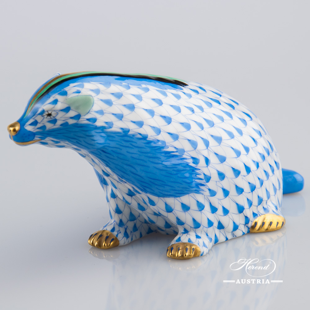 Badger 15374-0-00 VHB Blue - Herend Animal Figurine