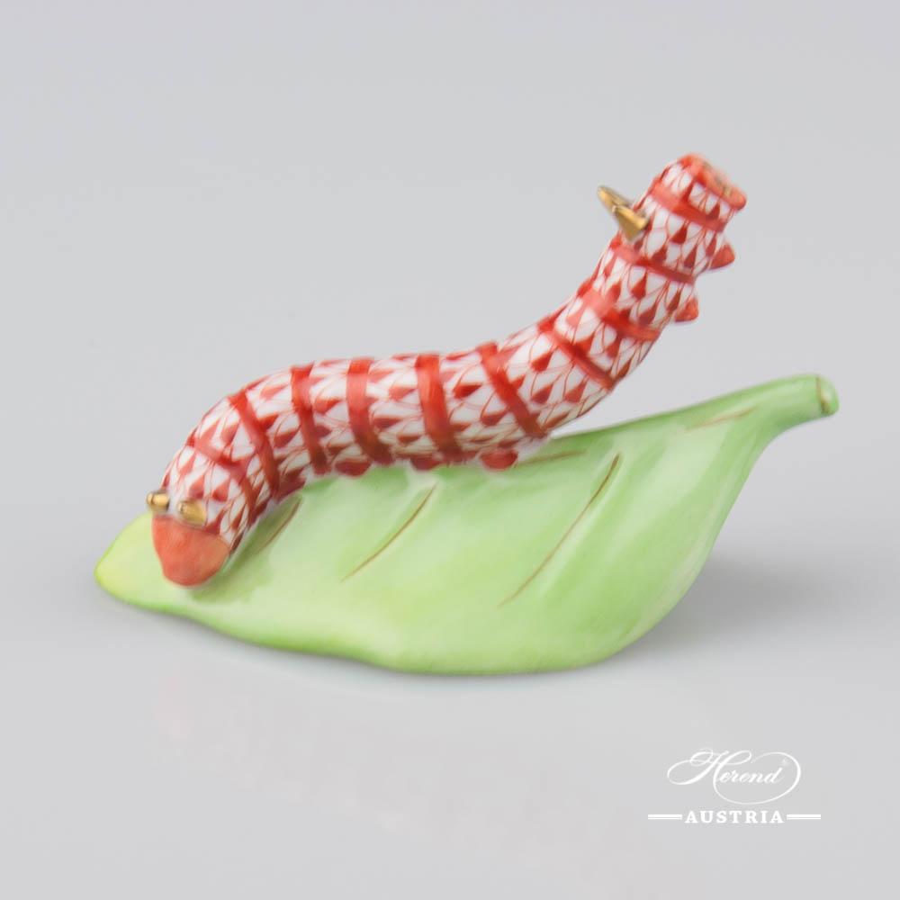 Caterpillar on Leaf 15809-0-00 VHR Red - Herend Animal Figurine