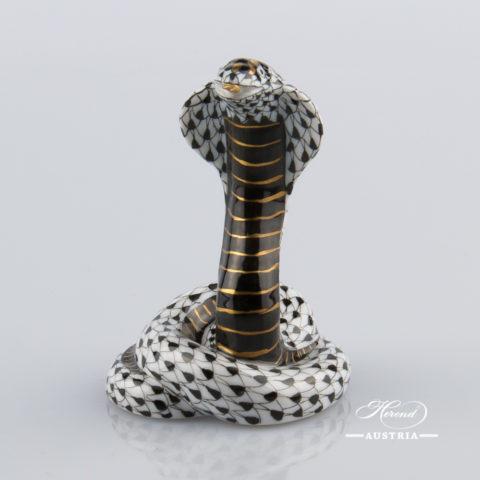 Cobra 15340-0-00 VHNM Black - Herend Animal Figurine