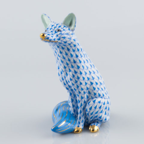 "Seated Fox 15382-0-00 VHB Blue Fish scale decor. Herend fine china animal figurine. Hand painted. Height: 13.5 cm (5.25""H)"