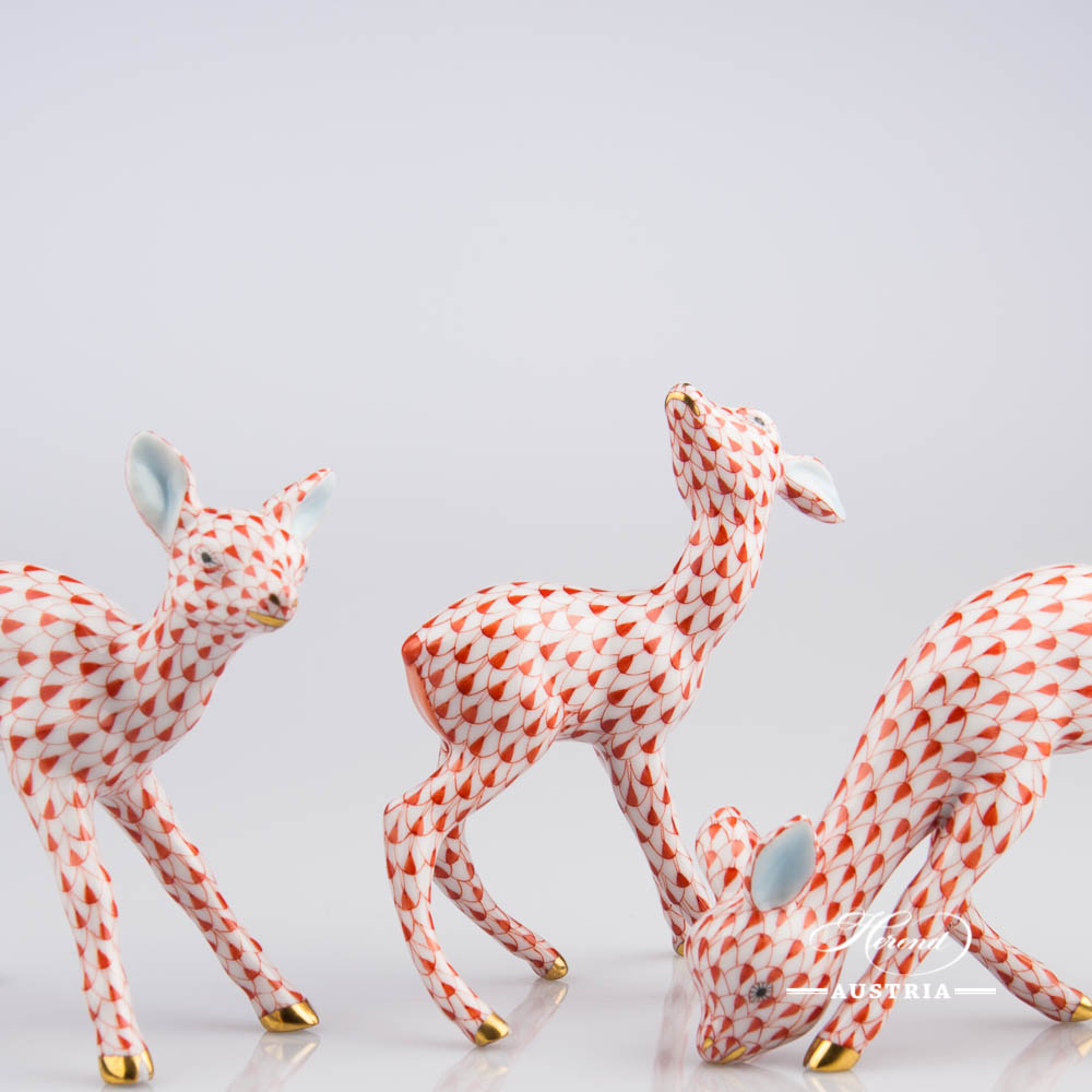 Group of Fawn and Bamby VHR Red - Herend Animal Figurines