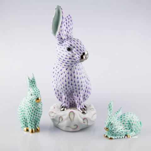 Group of Rabbits  VHL-PT Violet  & VHV Green - Herend Animal Figurines