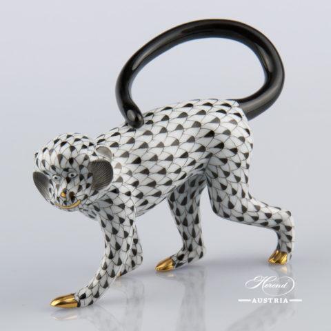 "Monkey 15391-0-00 VHNM BlackFish scaledesign. Herend fine china animal figurine. Handpainted. Length 12.5 cm (5""L)."