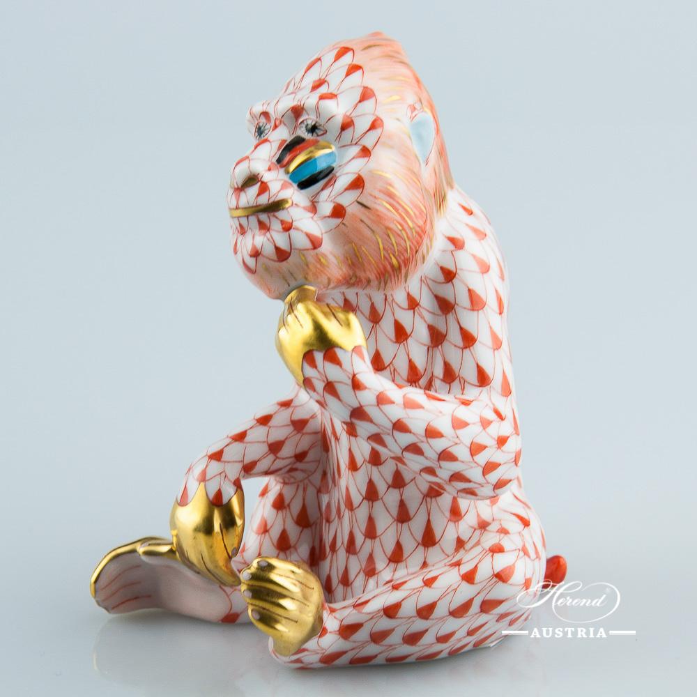 Mandrill Monkey 15660-0-00 VHR Red - Herend Animal Figurine