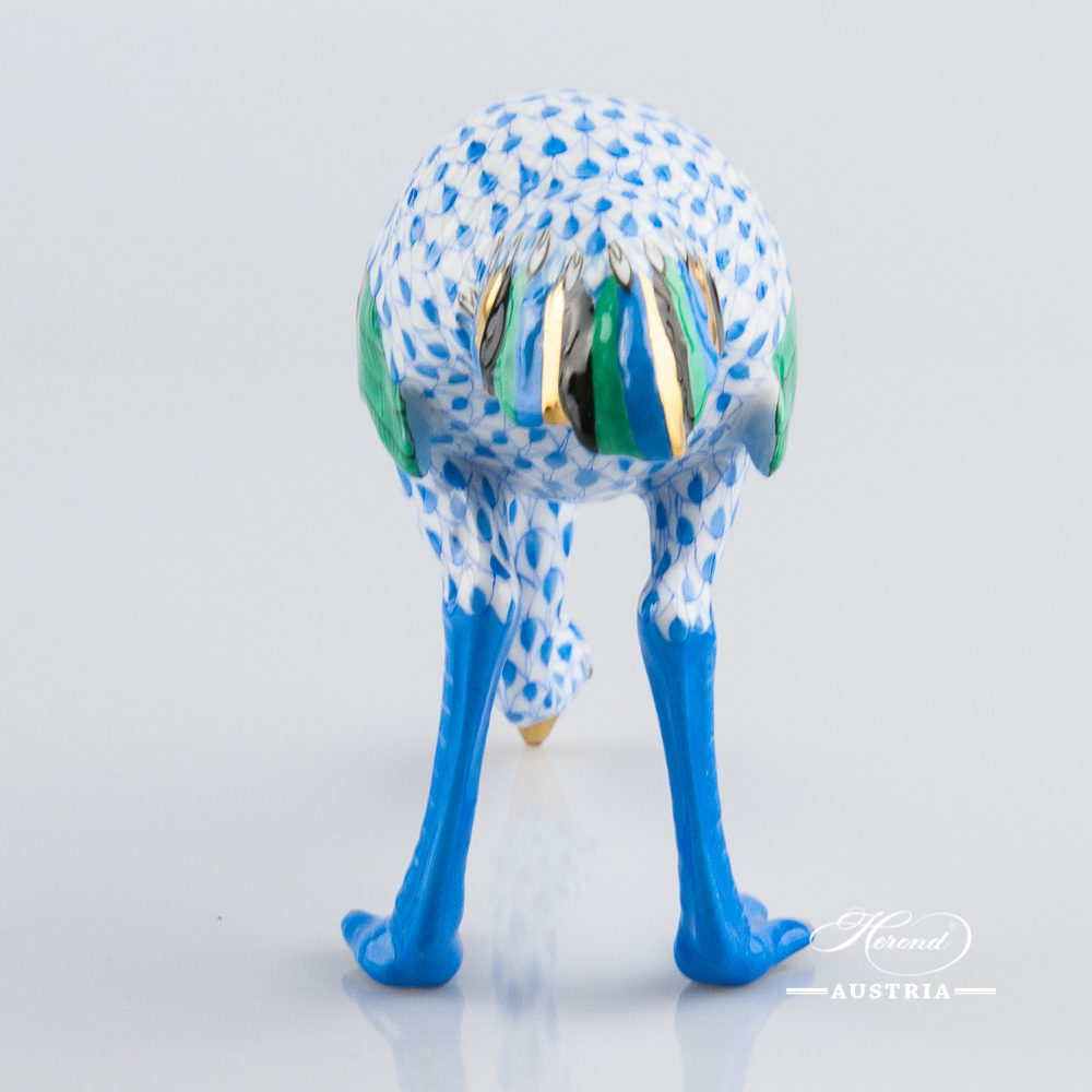 Ostrich 15436-0-00 VHB Blue - Herend Animal Figurine