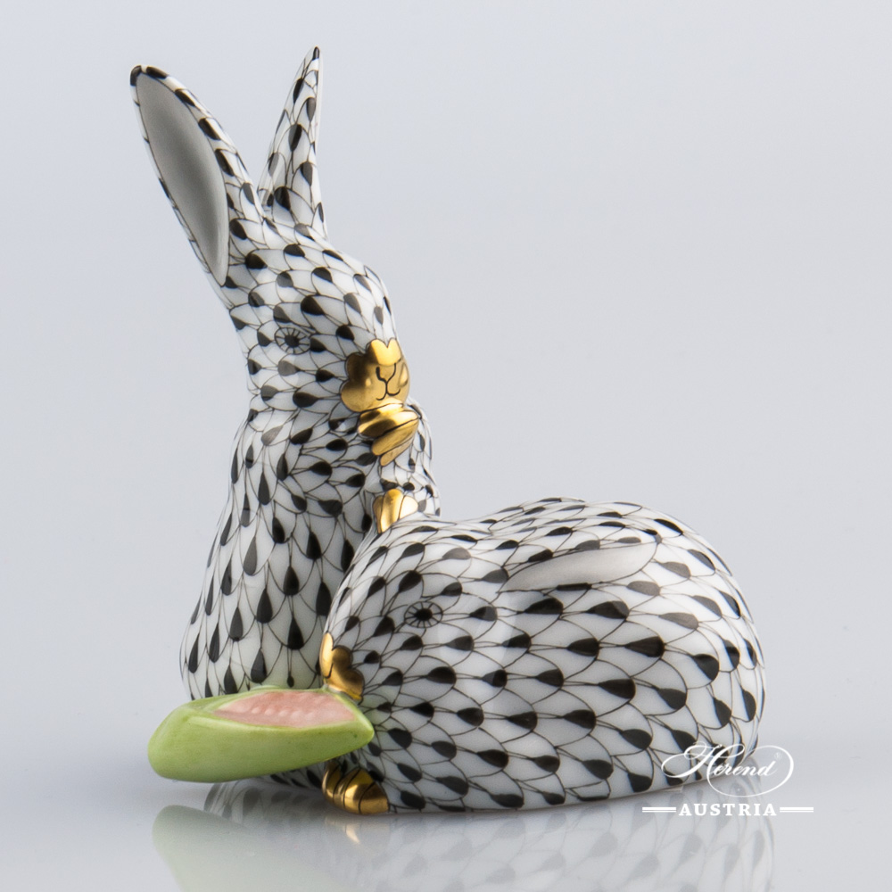 Pair of Rabbits with Corn 5326-0-00 VHNM Black - Herend Animal Figurine