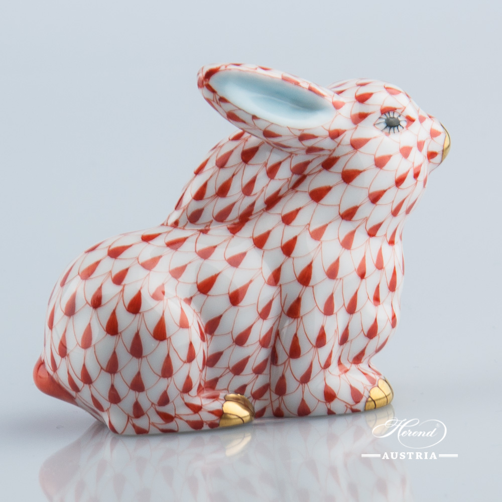 Rabbit 15569-0-00 VHR Red - Herend Animal Figurine