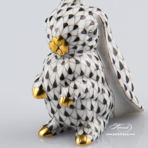 Rabbit funny 5325-0-00 VHNM Black - Herend Animal Figurine