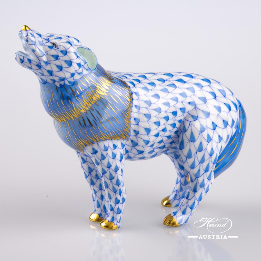 "Wolf 15607-0-00 VHB Blue Fish Scale design. Herend Fine china animal figurine. Handpainted. Length: 12 cm (4.75""L)."
