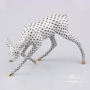 Deer 15288-0-00 VHNM Black - Herend Porcelain Animal Figurine