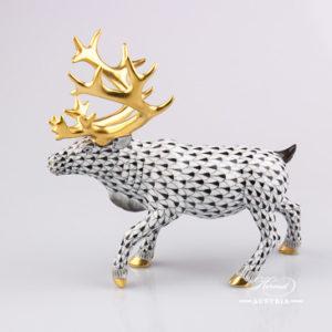 Deer Reindeer 15659-0-00 VHNM Black - Herend Fine china Animal Figurine