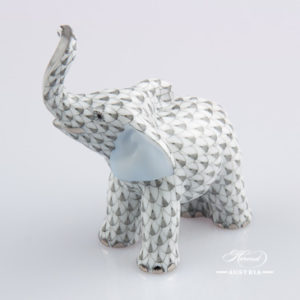 "Small Elephant 5265-0-00 VHG-PT Grey Fish scale with Platinum decor. Herend Fine china animal figurine. Hand painted. Height: 4.8 cm (2""H)"