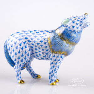 "Wolf 15607-0-00 VHB Blue Fish Scale design. Herend Fine china animal figurine. Handpainted. Length: 12 cm (4.75""L)."