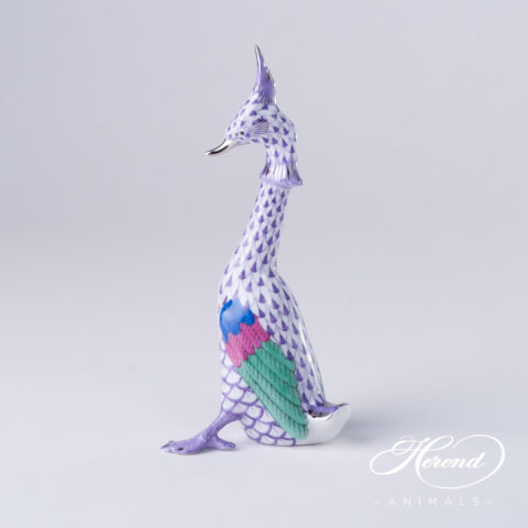 "Great Crested Grebe 15380-0-00 VHLM-PT Lilac and Platinum decor - Herend Fine china animal figurine. Hand painted. Height: 14.8 cm - (5.8""H)."