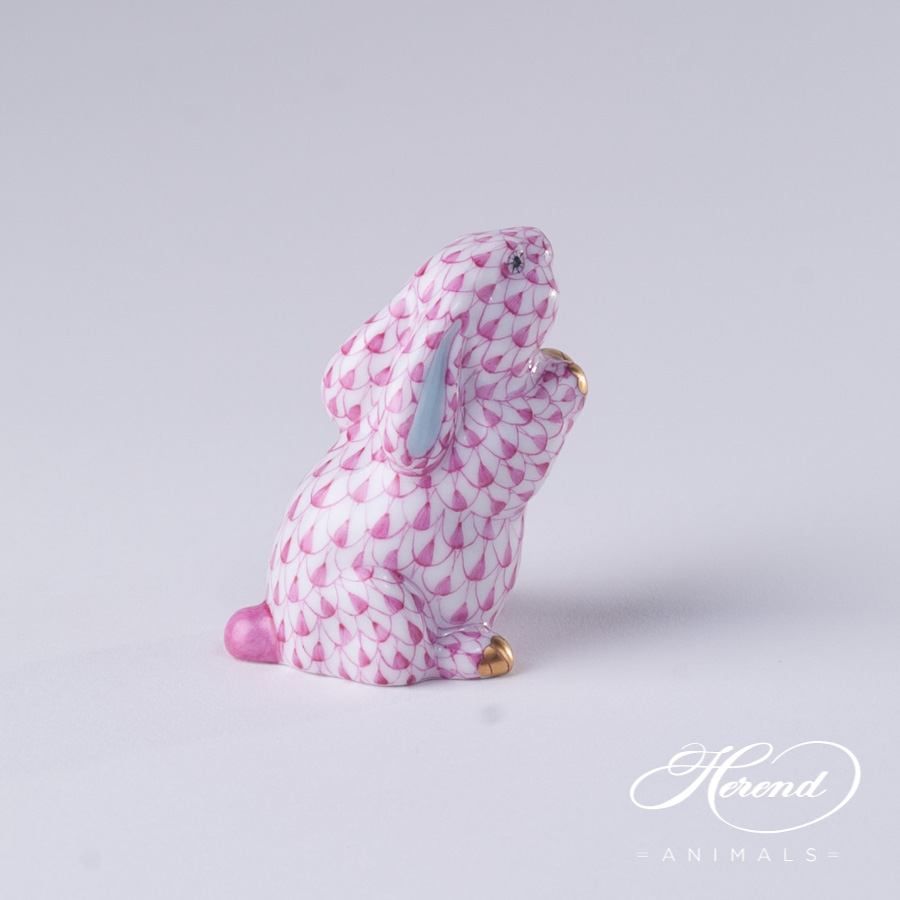 "Rabbit 15068-0-00 VHP Purple Fish scale design. Herend fine china animal figurine. Handpainted. Height: 5 cm (2""H)."