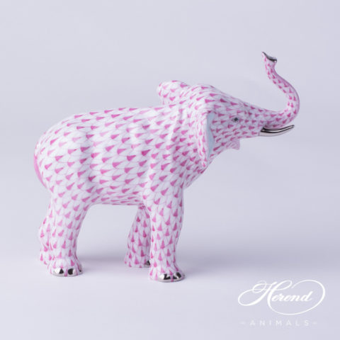 "Elephant 15920-0-00 VHP-PT Purple Fish scale with Platinum decor. Herend fine china animal figurine. Hand painted. Length: 15.0 cm (6""L)"
