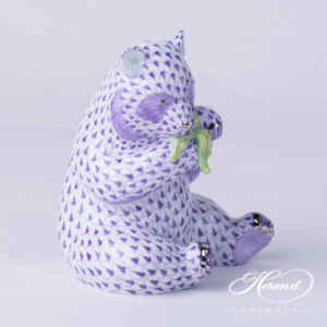 "Panda Bear 15348-0-00 VHL-PT Lilac fish scale with Platinum decor. Herend Fine china animal figurine. Hand painted. Height: 12.6 cm (5""H)"