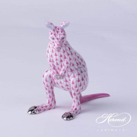 "Kangaroo 15741-0-00 VHP-PT Pink Fish scale w. Platinum design. Herend fine china animal figurine. Hand painted. Height 10 cm (4""H)."