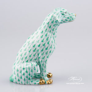 "Dog - Seated 15566-0-00 VHV Green Fish Scale decor. Herend Fine china hand painted. Dalmatian dog animal figurine. Height: 10.0 cm (3.75""H)"