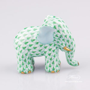 "Small Elephant 5265-0-00 VHV Green Fish scale decor. Herend Fine china animal figurine. Hand painted. Height: 4.8 cm (2""H)"