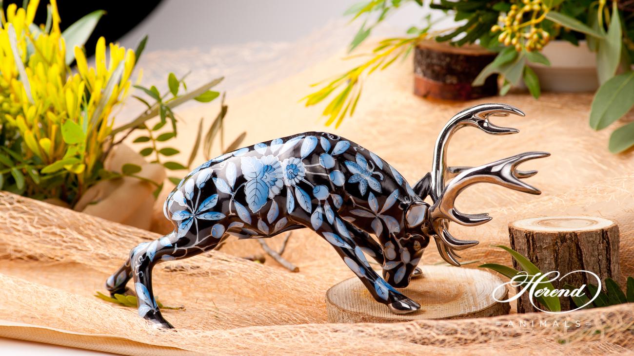 "Deer / Stag 15592-0-00 ZOBA-FN-PT Blue on Black w. Platinum design. Herend fine china animal figurine. Handpainted. Length: 20 cm (8""L)."