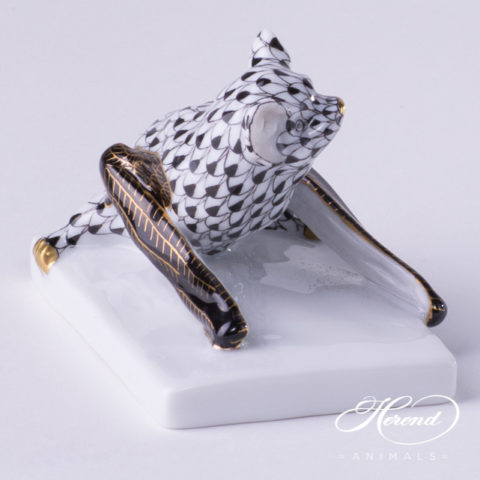 "Rhino Big 15384-0-00 PTVH Platinum Fish scale decor. Herend Fine china animal figurine. Hand painted. Length: 33.0 cm (13""L) Height: 16.5 cm (6.5""H)"