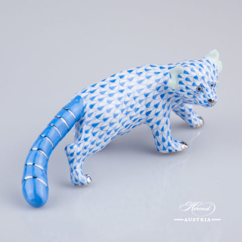 "Bear - Red Panda 15637-0-00 VHB-PT Blue fish scale with Platinum decor. Herend Fine china animal figurine. Hand painted. Length 17 cm (6.75""L)"