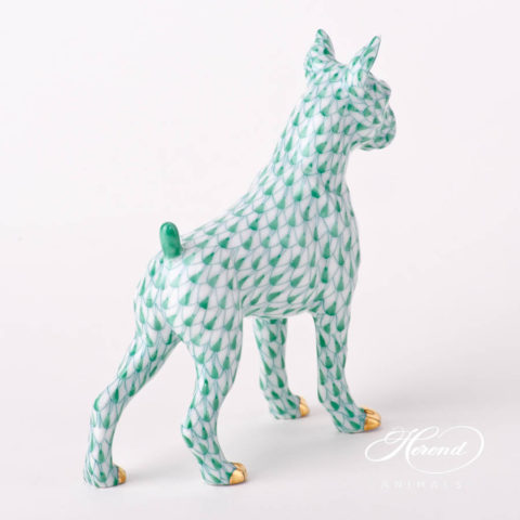 "Boxer Dog 15565-0-00 VHL-PT Lilac with Platinum Fish scale decor. Herend fine china animal figurine. Hand painted. Length: 11.8 cm (4.75""L)"