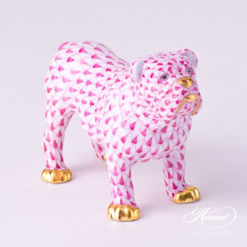 "Bulldog 15839-0-00 VHP Purple Fish scale decor. Herend Fine china animal figurine. Hand painted. Length 10.0 cm (4""L)"