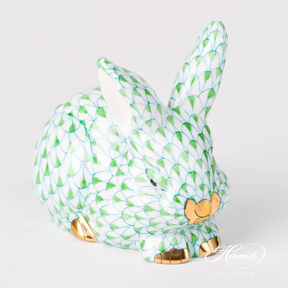"Rabbit / Bunny 15570-0-00 VHV2 Light Green / Lime Fish scale design. Herend fine china animal figurine. Handpainted. Length 8.5 cm (3.5""L)."