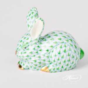 "Rabbit / Bunny 15570-0-00 VHV2 Light Green / Lime Fish scale design. Herend fine china animal figurine. Handpainted. Length 8.5 cm (3.5""L)."