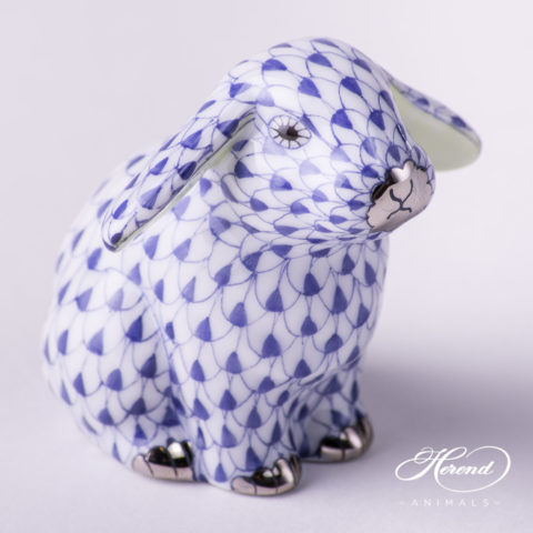 "Rabbit 15091-0-00 VHFB-PT Navy Blue Fish scale with Platinum decor. Lop Ear Bunny. Herend fine china animal figurine. Hand painted. Height: 5.0 cm (2""H)"