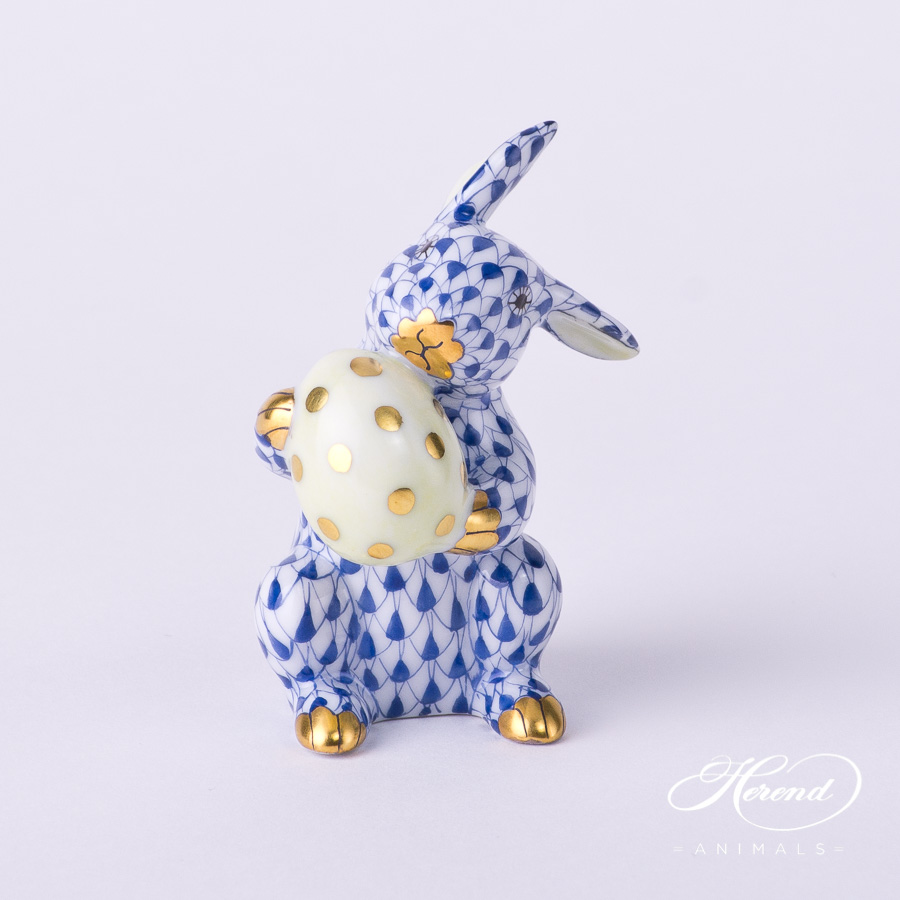 "Rabbit with Egg 5436-0-00 VHFB Navy Blue Fish scale decor. Easter Bunny. Herend fine china animal figurine. Hand painted. Height: 6.0 cm (2.5""H)"