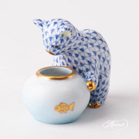 "Cat w. Aquarium 15710-0-00 VHFB Navy BlueFish scale design. Herend fine china animal figurine. Handpainted. Height 6 cm (2.5""H)."