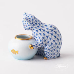 "Cat w. Aquarium 15710-0-00 VHFB Navy Blue Fish scale design. Herend fine china animal figurine. Handpainted. Height 6 cm (2.5""H)."