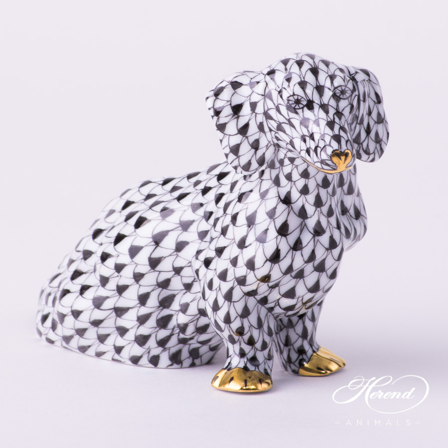 "Dog - Dachshund 15576-0-00 VHN Black Fish Scale decor. Herend porcelain animal figurine. Hand painted. Length: 13.2 cm (5.25""L)"