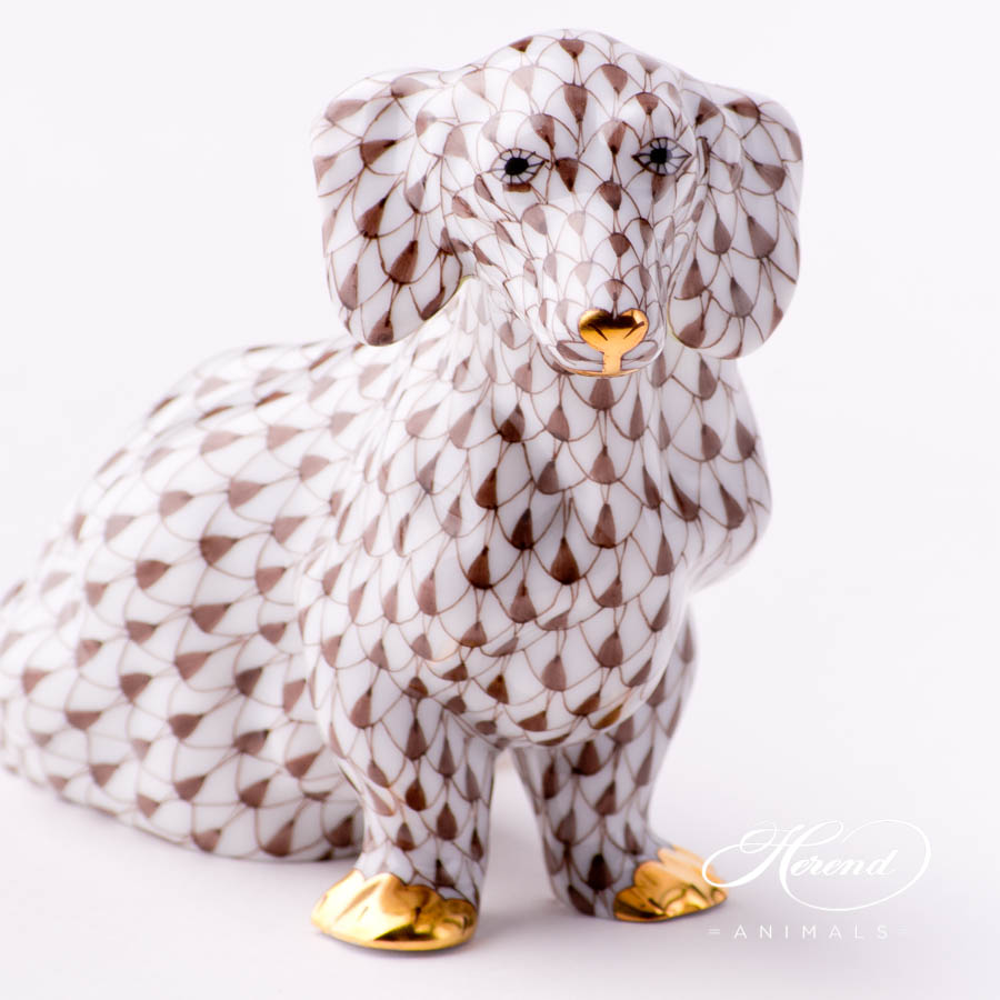 "Dachshund Dog 15576-0-00 VHBR1 Brown Fish Scale decor. Herend Fine china animal figurine. Hand painted. Length: 13.2 cm (5.25""L)"