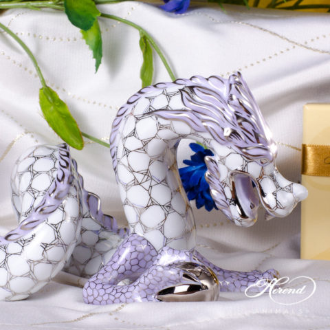 """Dragon 15601-0-00 KTFPT-L Lilac and Platinum decor. Herend Fine china animal figurine. Hand painted. Length: 29.0 cm (11.5""""L)"""