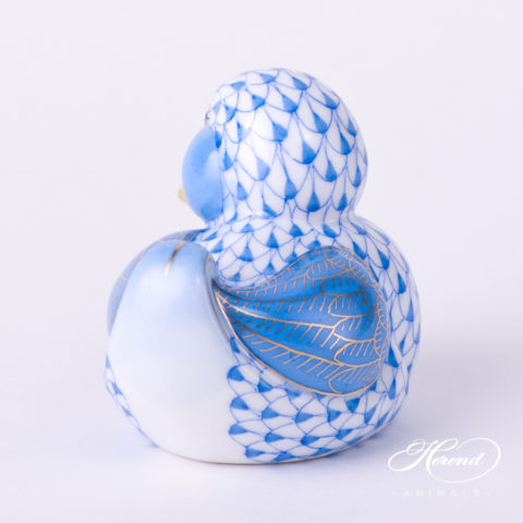 "Duck 5464-0-00 VHBM Blue Fish scale decor. Herend fine china animal figurine. Hand painted. Length: 7.0 cm (2.75""L)"