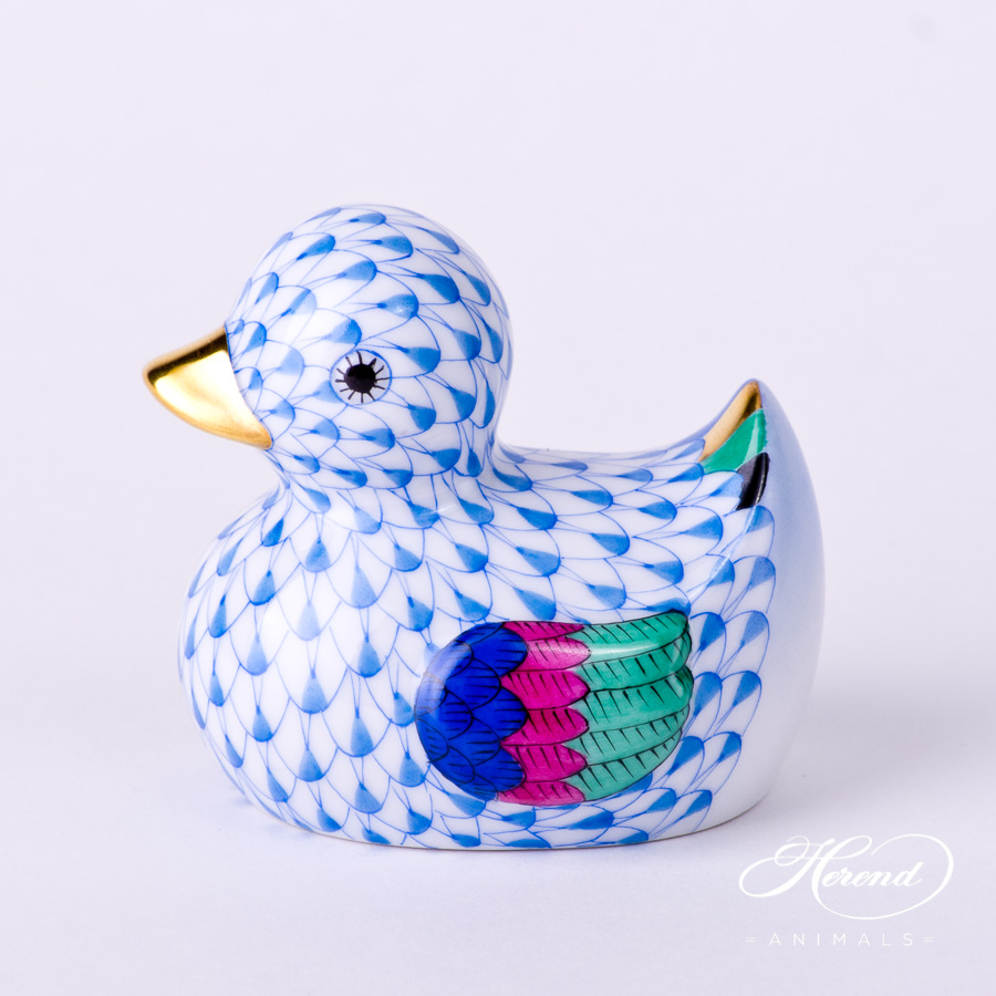 """Duck 15239-0-00 VHB Blue Fish scale decor. Herend fine china animal figurine. Hand painted. Length: 7.0 cm (2.75""""L)"""